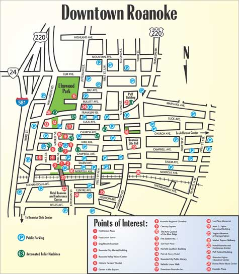 Downtown Roanoke Points of Interest Map