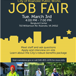 City of Roanoke Public Works Job Fair 3-3-2020 Berglund Center 4pm-7pm