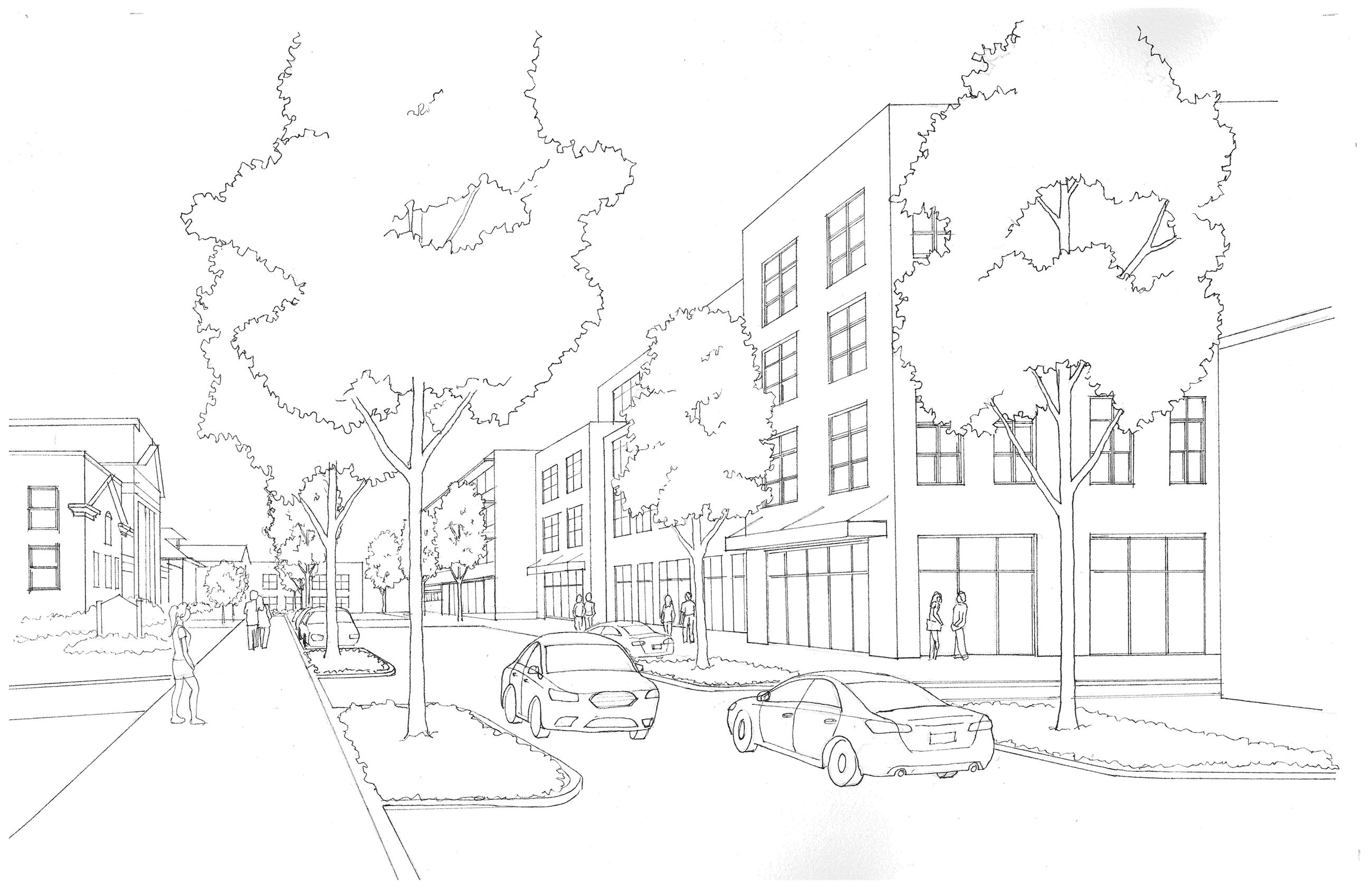 Church Ave Proposed Streetscape 4th to 5th - Schematic Sketch