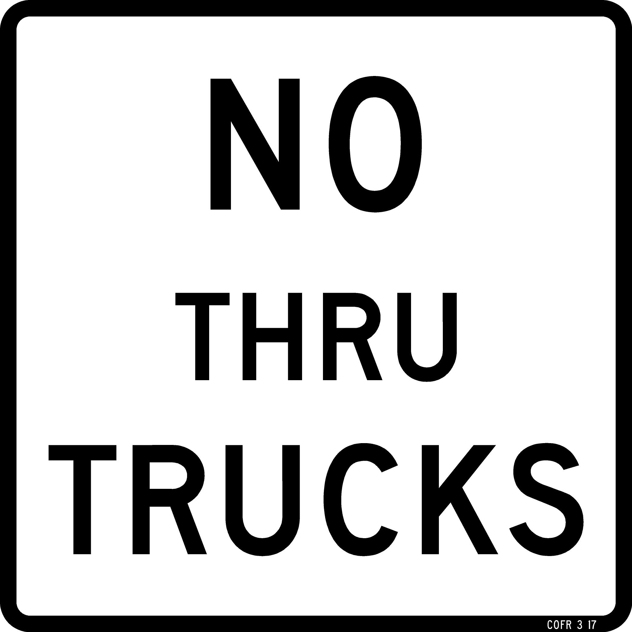 No Thru Trucks Sign