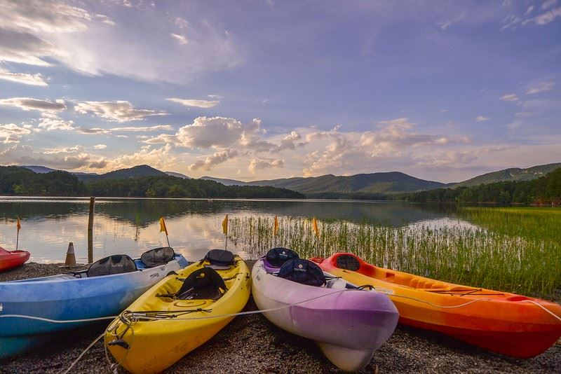 Kayaking at Carvins Cove in Roanoke Virginia