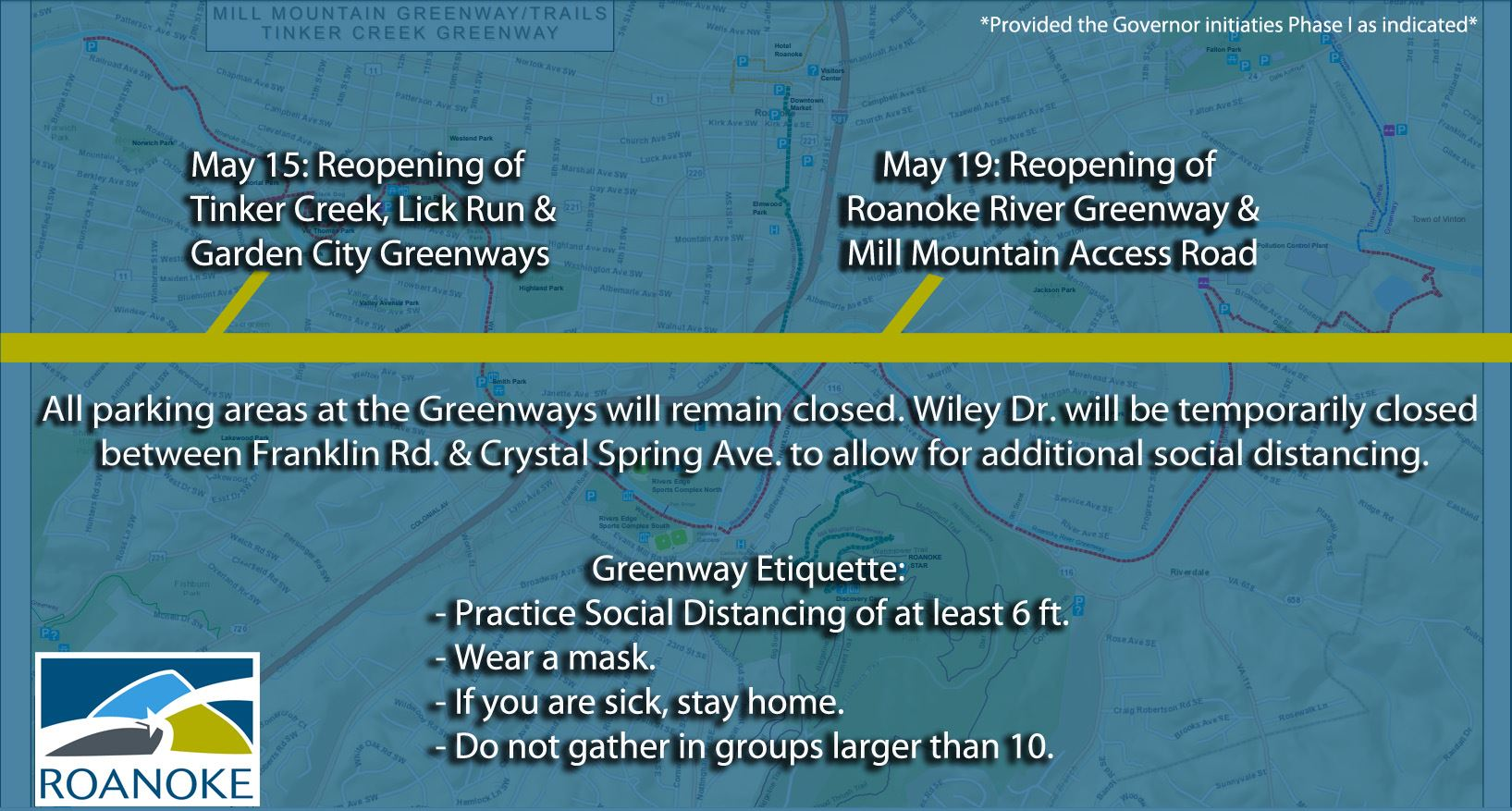 Roanoke Greenways Reopening Timeline May 2020