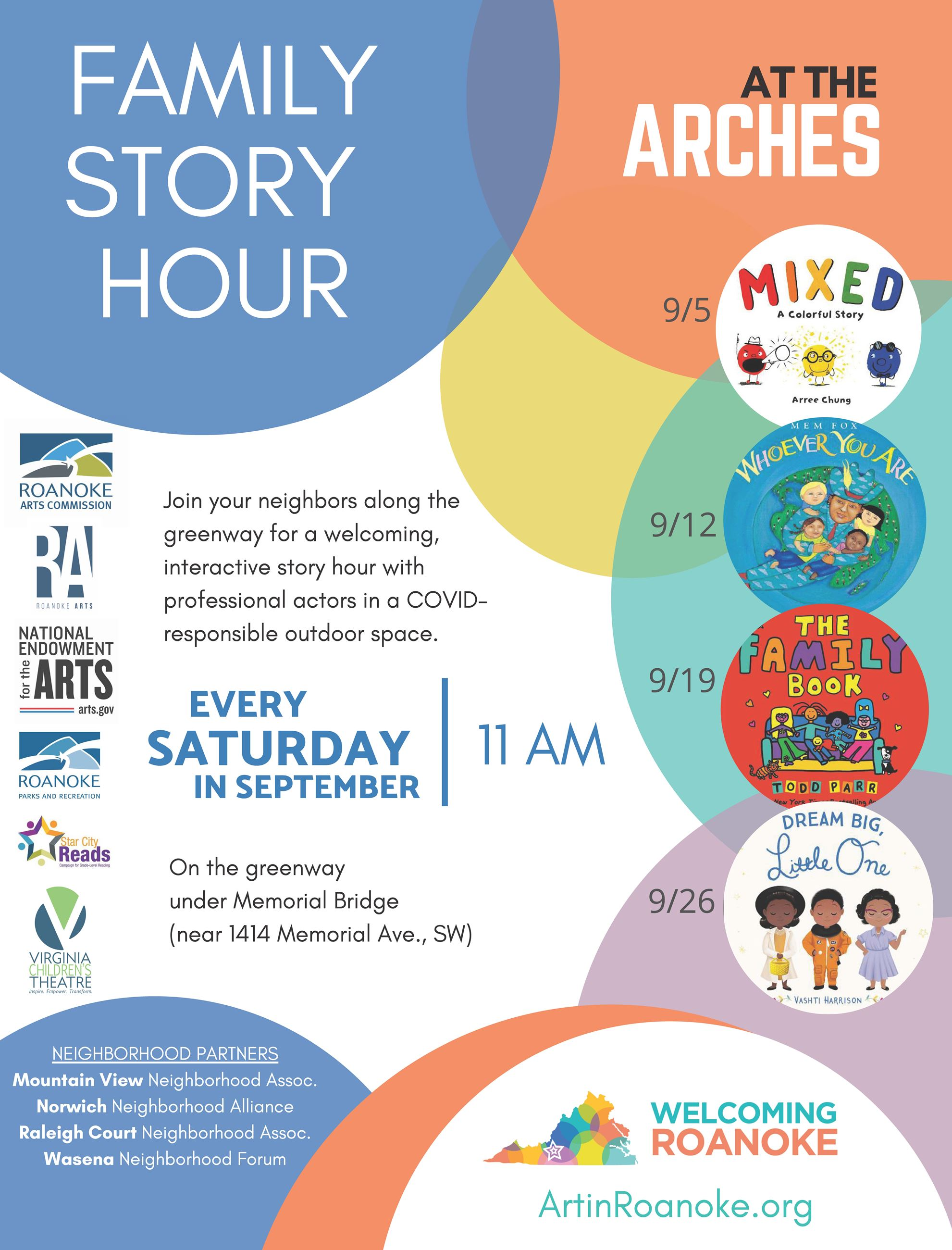 Join us at the ARCHES for Story Hour to help showcase Welcoming Roanoke!