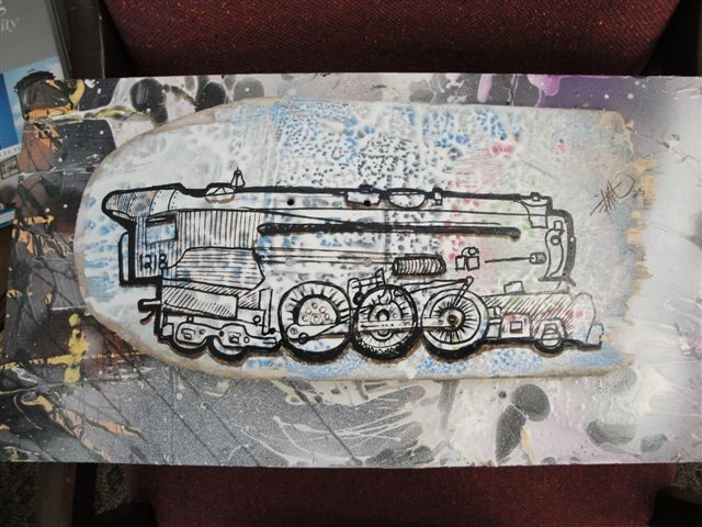 Baby Train Pen and Ink on Broken Skateboard
