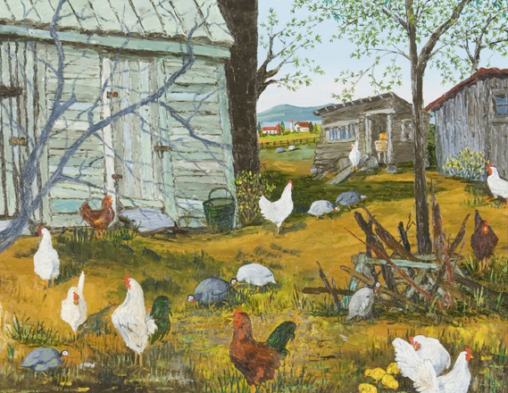 Hen Houses Oil Painting