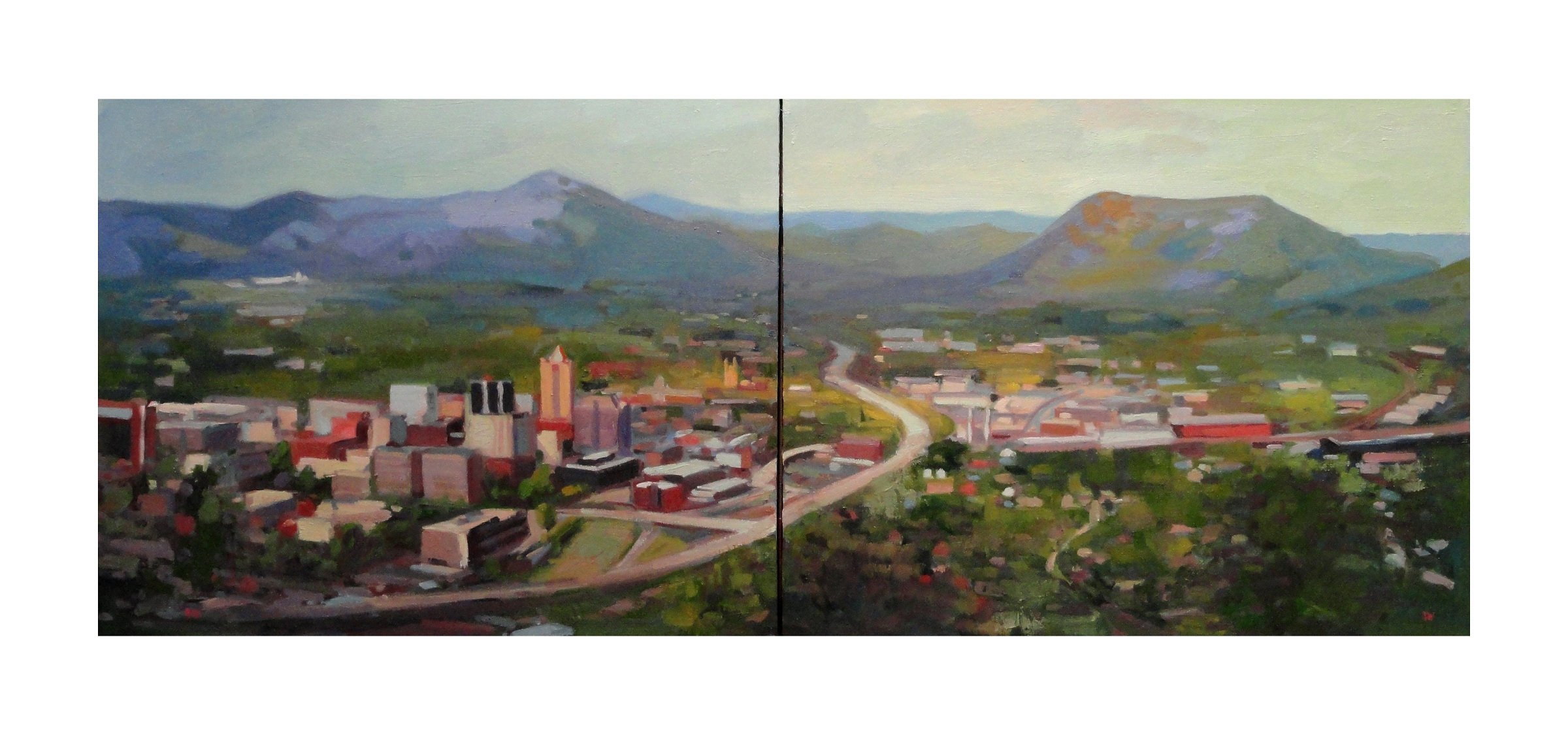 Looking Over the Valley Oil on Canvas Painting