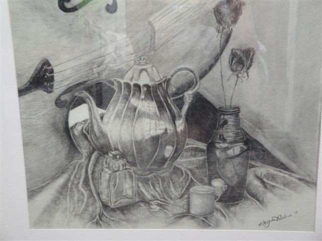 Tea Time Charcoal Drawing