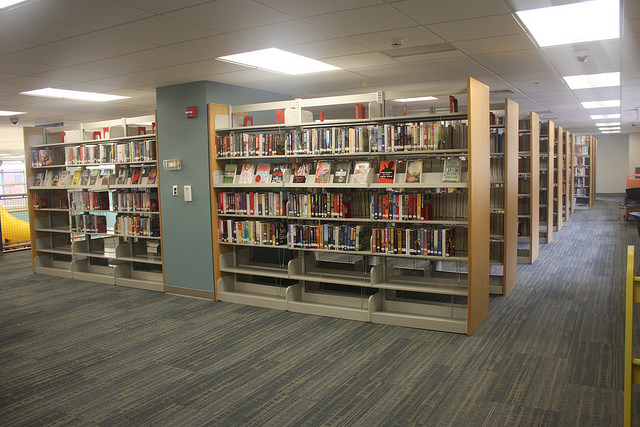The adult fiction and non-fiction stacks.