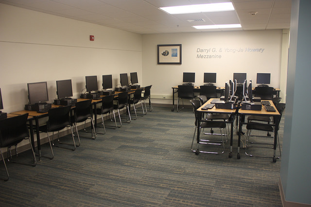 The new Darryl and Yong-Ja Howery mezzanine with many computers and chairs.