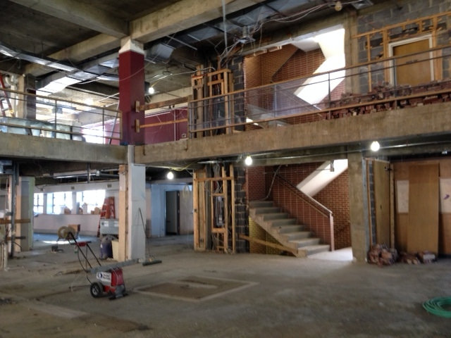 Main staircase opened up during construction.