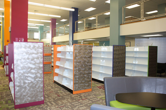 New shelving in the teen area.